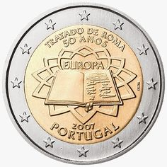 2 Euro Commemorative Coins: 2 euro coins Portugal 2007, 50th anniversary of the Treaty of Rome. Commemorative 2 euro coins from Portugal