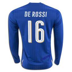 2016 UEFA Euro Italy Daniele De Rossi 16 Long Sleeve Home Soccer Jersey
