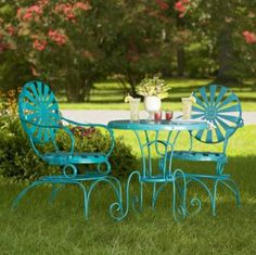 I'm actually refinishing/painting our wrought iron table set in an aqua color this week!