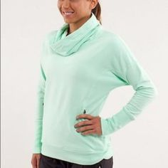 Lululemon rest day pullover- mint green Fun and comfy Lululemon pullover sweater. I bought it and wore it only a few times so don't know where the tiny sleeve stains came from, but it has been washed with like colors (prob just needs a spot clean). lululemon athletica Sweaters