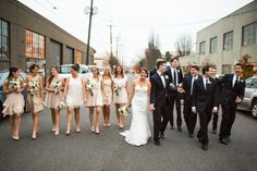 Our Wedding: Cassablanca 1975 Dress and Vera Wang Tux with Bow tie // neutral bridesmaid dresses