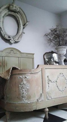 Pretty French style bed decorated with carved wooden appliques. You can find… French Furniture, Shabby Chic Furniture, Vintage Furniture, Painted Furniture, Furniture Design, French Interior, French Decor, French Country Decorating, French Country Bedrooms
