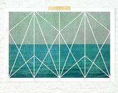 Geometric design Art nouveau ocean waves print nautical home decor turquoise great gatsby- Deco Ocean