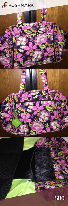 """Vera  Bradley """"Make a change Diaper bag"""" This is a retired print brand new with tags . Has a solid black vinyl lining . Has changing pad attached . A lot of room and 4 pockets On inside.1 large zip pocket on outside and two bottle pockets on each end .16x12x7with 15 in strap drop ,changing pad 15x23. Vera Bradley Bags Baby Bags"""