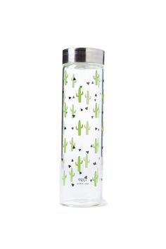 Typo Cactus Glass Bottle - Sip your daily intake of H20 in style with these printed glass drink bottles.