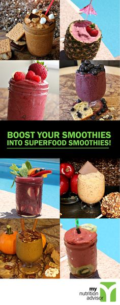 These are the best superfood smoothie recipes available. Each recipe is crafted for great taste, low calorie, and high nutrition. Browse through over 65 superfood smoothie recipes on our website: http://mynutritionadvisor.com/recipes.html #mnasmoothie