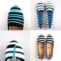 Follow this tutorial to DIY a pair of striped loafers.