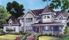 Farmhouse Mediterranean Victorian House Plan 63185 -----LOVE the den off of family room, if had littles and school age den would be perfect for school room, easy to keep eye on all