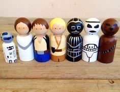 Wood peg people Star Wars set