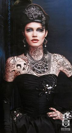 .looks like tat..but i think it is makeup..as i have seen this model many times..  so very well done..