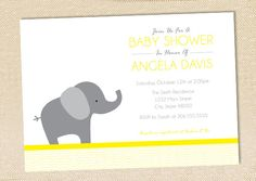 Elephant Baby Shower invitation - set of 12. $15.00, via Etsy.