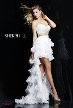 Look like a goddess in @Sherri Levek Hill 3835, white/gold high low #dress! #prom #promdresses #formal #homecoming #Prom360 #IPAProm