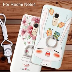 Super 3D Relief Printing Soft TPU+PC Hard Back Cover Case For xiaomi Redmi Note 4 With Ring Holder Phone Bag Coque