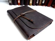 Handmade refillable waxed leather journal A5 free by inkitbooks, $53.00