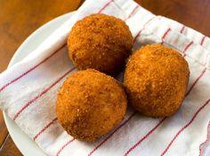 Rich and Creamy Saffron Arancini With Mozzarella Recipe - Serious Eats Serious Eats, Italian Rice Balls Recipe, Dutch Croquettes, Risotto, Tapas, Dry Bread, Creamy Sauce, Mozzarella, Bento