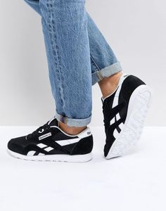 Reebok Classic nylon sneakers in black and white cebc129ed
