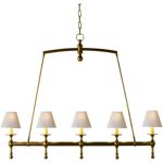 Chart House Classic Linear Chandelier in Hand-Rubbed Antique Brass with Natural Paper Shades by Visual Comfort & Co. SL5811HAB-NP