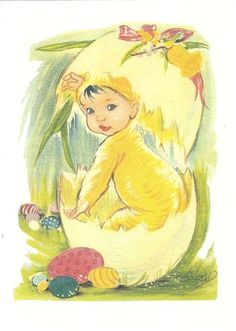 I don't know why, but this picture warms my heart :) Happy Easter, Easter Bunny, Christian Holidays, Devian Art, Western World, Naive Art, Egg Hunt, Pagan, Paper Dolls