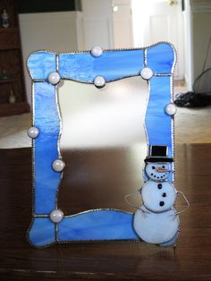 Stained Glass Snowman Picture Frame