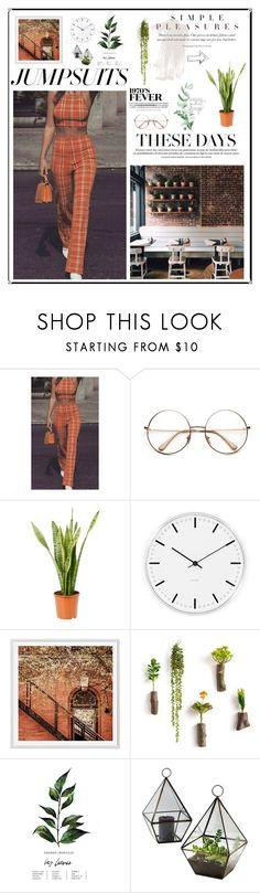 """1970s"" by haleymariello ❤ liked on Polyvore featuring Coffee Shop, Rosendahl, Pottery Barn and jumpsuits"
