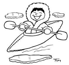 esquimal en kayak para colorear