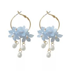 glass the Lotus Queens soft shades of blue and grey earrings sterling silver My Neighbors