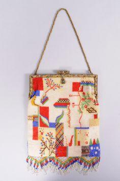 Wiener Werkstatte Beaded Bag with Striking Enamel Frame