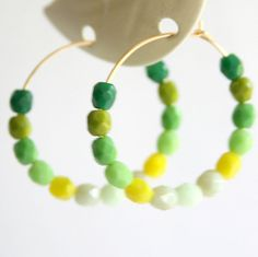 NEW! Green Ombre 14K GF Hoops 1 inch round by NestPrettyThingsShop, $24.00