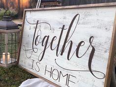 Together is Home Framed Family Sign Large Framed Wood Sign