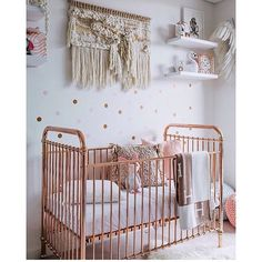 Rose gold cot by @incy_interiors looking amazing and styled so beautifully in @whatwillowwears room...