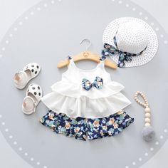 3pcs Cute Newborn Baby Beach Style Clothing Set Top+Flower Pant+Hat //Price: $21.94 & FREE Shipping //     #Buybies