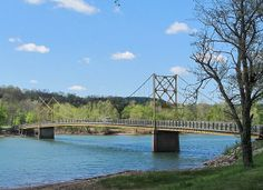 5-5-14 Beaver Bridge, Hwy 187, Beaver, AR  (near Eureka Springs)  Referred to as the Little Golden Gate Bridge, it is an old one-way bridge with wooden plank flooring.