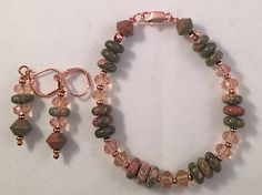 Beaded Gemstone Set Bracelet and Earrings of Unakite, Light Rose Jablonex Pressed Glass and Copper Accents