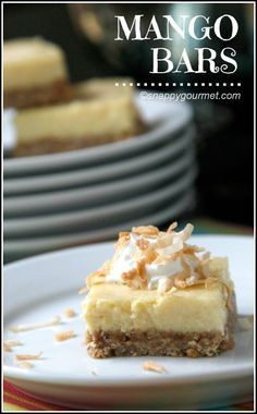 Mango Bars Recipe - easy homemade dessert like mango pie! SnappyGourmet.com