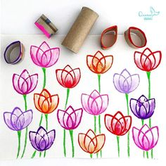 Spring Crafts For Kids, Spring Projects, Diy Crafts For Kids, Arts And Crafts, Montessori Activities, Art Activities, Toilet Paper Roll Crafts, Paper Crafts, Art Games For Kids