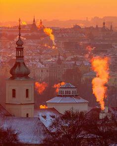 Winter in Prague.