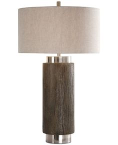 Rustic touches meet modern design in the Cheraw Wood Cylinder table lamp from Uttermost. A faux-wood column base finished in an old driftwood stain and a rottenstone glaze is beautifully accented by brushed nickel-tone details. Driftwood Stain, Wood Columns, Bedroom Lamps, Space Furniture, Tripod Lamp, Modern Lighting, Lighting Ideas, Lighting Design, Floor Lamp