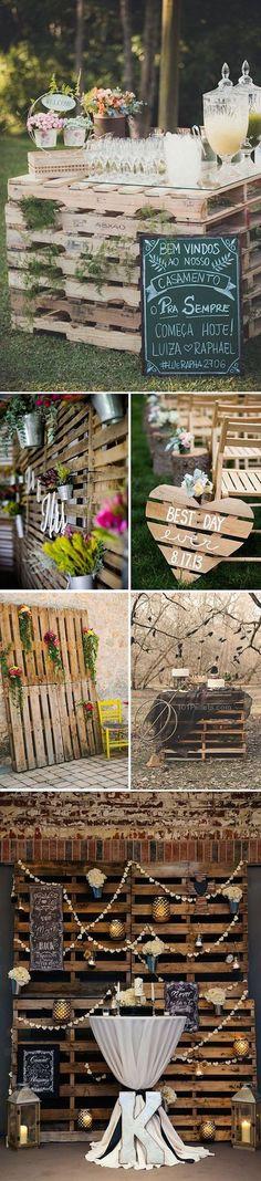 Decoración con palets y cajones de madera para bodas porque la imaginación no tiene límites.