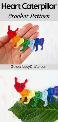 Learn how to make this crochet Caterpillar applique from hearts! Free crochet pattern, crochet hearts, decoration, embellishment, kids, Valentine's Day Crochet Thread Size 10, Double Crochet, Single Crochet, Crochet Appliques, Crochet Motif, Crochet Patterns, Cotton Crochet, Cute Crochet, Knit Flowers