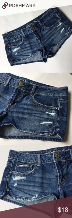 """American eagle distressed jeans shorts Excellent condition. 32"""" low waist, 2"""" inseam. American Eagle Outfitters Shorts Jean Shorts"""