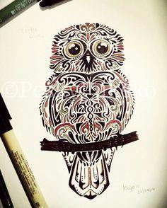 Little ruru #design #pen #pretty #owl