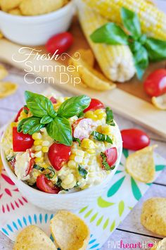 Fresh Summer Corn Dip ~ cool, creamy, and bursting with sweet corn, juicy tomatoes, and ribbons of basil | FiveHeartHome.com