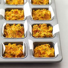 This Crustless Carrot Quiche recipe is a French terrine turned into an individual quiche. Great for a snack or as a vegetable side dish. Healthy Recipes, Ww Recipes, Healthy Snacks, Healthy Eating, Plats Weight Watchers, Weight Watchers Meals, Good Food, Yummy Food, Tasty