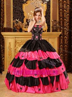 Black and Fuchsia Strapless Floor-length Taffeta Quinceanera Gowns with Layers