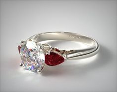 Three Stone Engagement Ring in White Gold - Setting Only