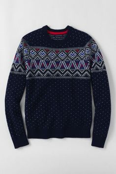 Men's Fair Isle Chest Lambswool Crewneck Sweater from Lands' End