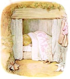 """'The Tale of Mrs. Tittlemouse', 1910 -- by Beatrix Potter. """"Also, there was Mrs. Tittlemouse's bedroom, where she slept in a little box bed!"""""""