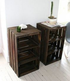Tall side table with storage pallet project pallet end tables room for the home crate furniture Pallet End Tables, Crate End Tables, Wooden Crate End Table, Wood Table, Diy End Tables, Wooden Bedside Table, Wooden Chairs, Wooden Crate Shelves, Wood Crates