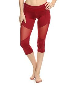 Love this Red Mesh-Accent Color Block Capri Leggings on #zulily! #zulilyfinds