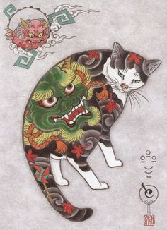 This kitty has a green devil spirit on her back.